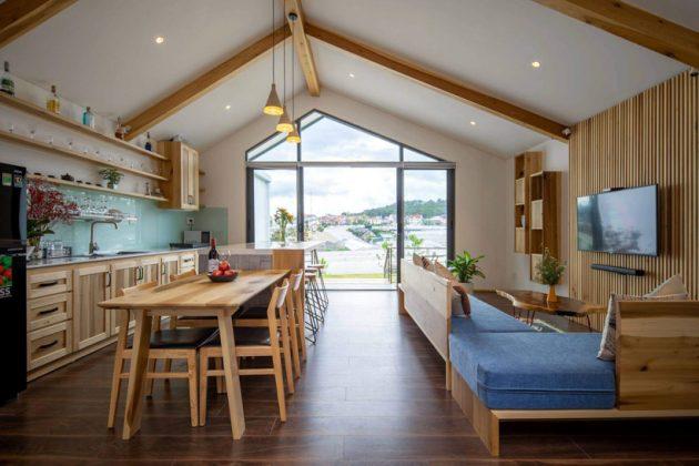 Phòng sinh hoạt chung không gian mở có nhà bếp